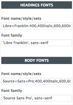 Choosing the fonts