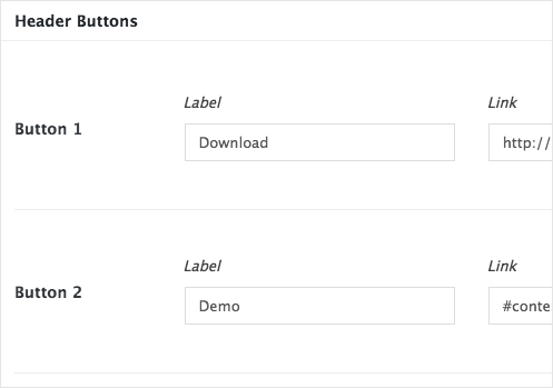 Header button options