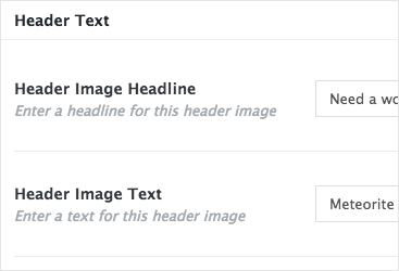 Set a header image text